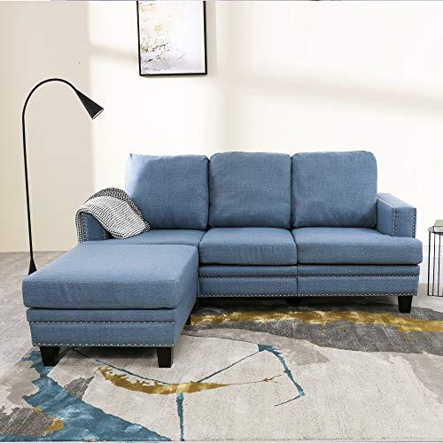 LOKATSE HOME Modern Fabric Lounge Sectional Slepper Sofa Couch for Living Room Furniture, Set, Blue