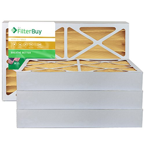 FilterBuy 16x25x4 MERV 11 Pleated AC Furnace Air Filter, (Pack of 4 Filters), 16x25x4 – Gold