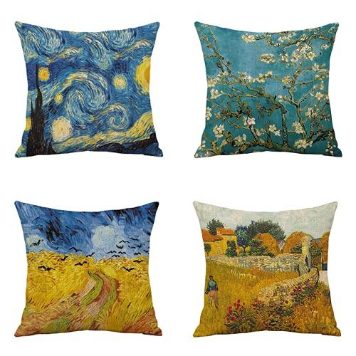 Vincent van Gogh federa di arte astratta, cuscino quadrato dipinto ad olio ad acquerello, famoso cuscino, cuscino decorativo per divano per auto di famiglia 45 x 45 cm