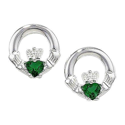 Pendientes de tuerca de Claddagh irlandeses de plata de ley con piedras de circonita cúbica verde esmeralda (CZ)