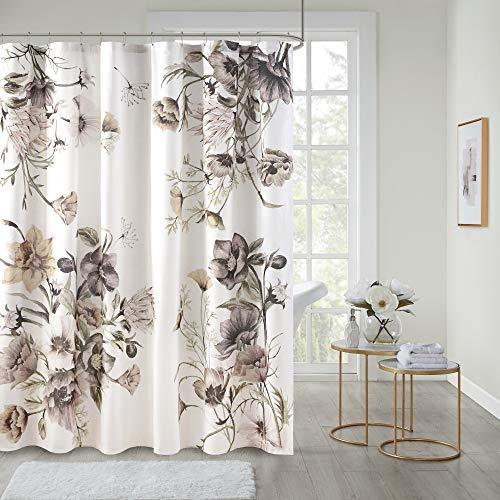 "Madison Park Cassandra Cotton Percale Bathroom Shower, Printed Floral Design Modern Shabby Chic Privacy Bath Fabric Curtains, 72""x72"", Blush"