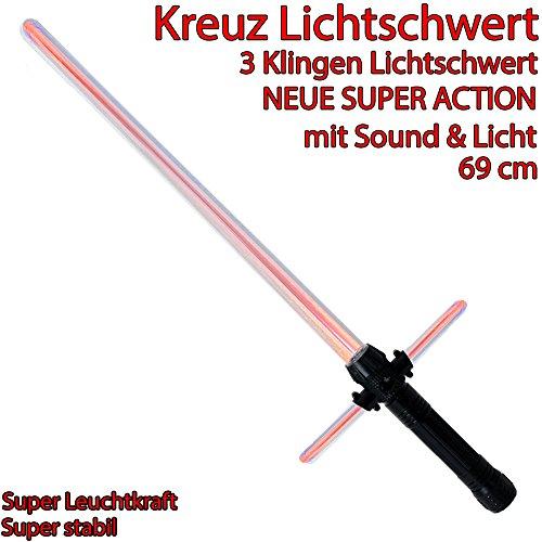 Kreuz Lichtschwert Kreuzschwert 3 Klingen Lichtschwert Feste Klinge zuschaltbarer Sound Lichteffekt rot 69 x 23 cm