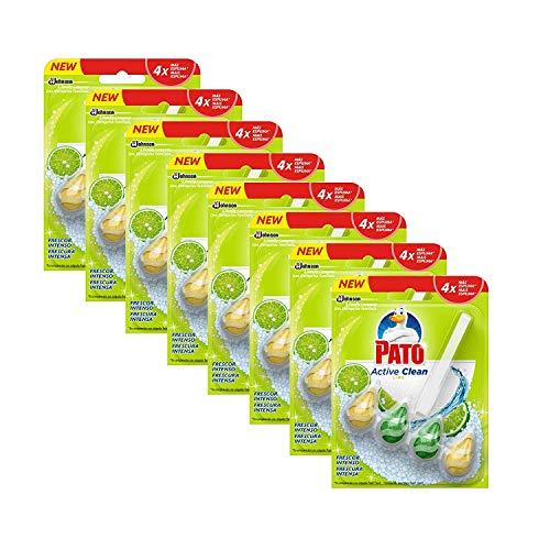 PATO® - Active Clean Colgador para Inodoro, frescor Intenso, perfuma y desinfecta, Aroma Lima - Pack de 8 Unidades