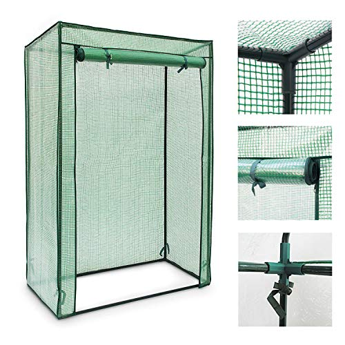 Janoon Tomato Greenhouse Frame and Reinforced PE Weather Cover Garden Vegetables Grow and Cultivation, Green