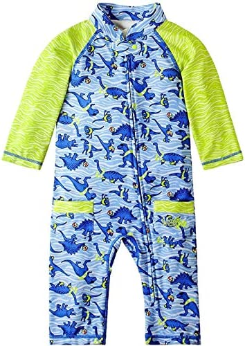 UV SKINZ UPF50 Baby Boy Sun Swim Suit Dino Pool Party 18 24 Months Blue Green product image