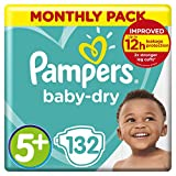 Pampers Baby-Dry Size 5+, 132 Nappies, 12-17kg, Monthly Saving Pack, Air Channels for Breathable Dryness Overnight