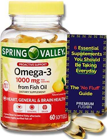 Omega 3 from Fish Oil Proactive Support 1000 mg 60 Softgels Lemon Flavor Vitamin Pouch and Guide product image