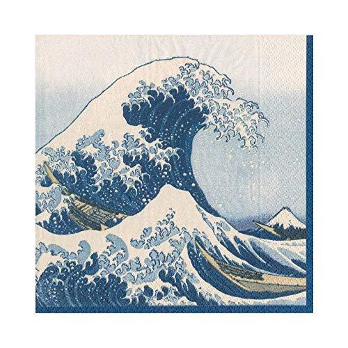 ペーパーナプキン Lサイズ(33×33cm・3枚重ね) 20枚入り 葛飾北斎 神奈川沖浪裏(かながわおきなみうら) BLUE