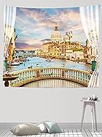 インテリア ウォールアート 布ポスター お部屋 リビング お店 個性ギフト 新居祝い 布製水からの街のバルコニーの眺め