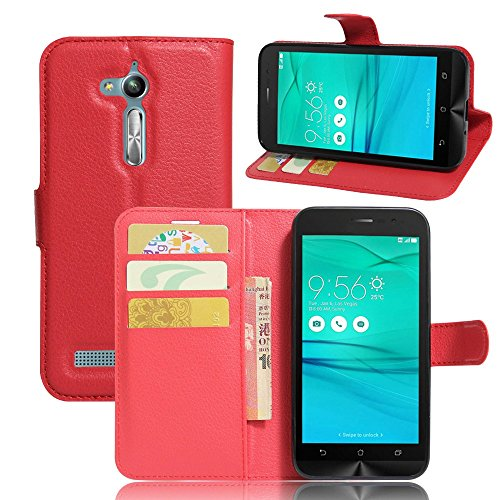 Tasche für Asus ZenFone Go ZB500KL (5.0 zoll) Hülle, Ycloud PU Ledertasche Flip Cover Wallet Hülle Handyhülle mit Stand Function Credit Card Slots Bookstyle Purse Design rote
