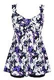 DANIFY Women's Tankini Swimdress Plus Size Swimsuits for Women Tummy Control Swimwear Two Piece Bathing Suit Purple White