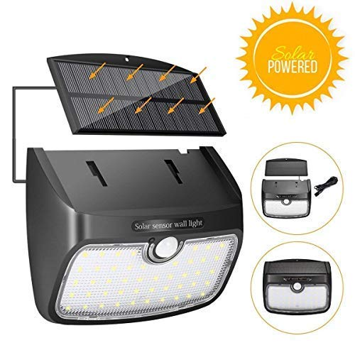Solar Lights Outdoor,SGODDE 48 LED Separable Motion Sensor Lights Rechargeable Waterproof Security Lights 700lm 3 Modes Wall Nightlight for Patio Backyard, Garden,Driveway -8.2ft Extension Cord