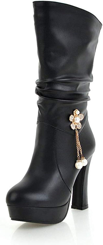 Hoxekle Women Mid-Calf Boots Pleated Winter Plush Female Elegant Platform Beads Decorating Slip-on High Square Heels shoes