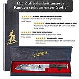 Kirosaku Premium Santoku Messer Damast 18cm - Enorm scharfes Santoku Japan Kochmesser aus hochwertigem Damaszener Stahl - Damastmesser Küchenmesser für ein fantastisches Schnitt Erlebnis - 6