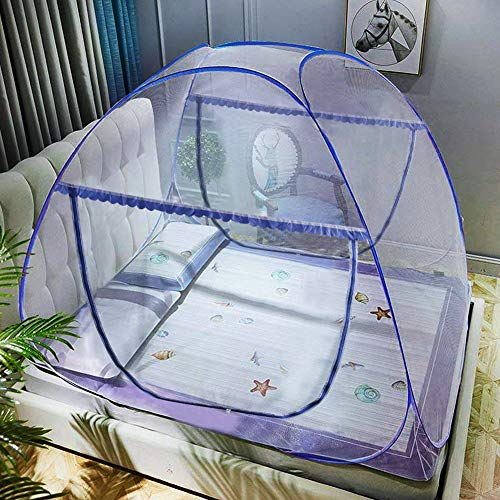 Portable Pop-Up Mosquito Net Tent for Bed Baby Adults Trip, L79 x W71 x H59 inch Large Folding Mosquito Netting with Net Bottom, 2 Entries, Suit for Twin to King Size Bed