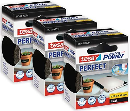 tesa 56341 Schwarz extra Power Perfect Gewebeband im 3er Pack-Gewebeverstärktes Ductape zum Basteln, Reparieren, Befestigen, Verstärken und Beschriften 3 Rollen je 2,75 m, 2,75m x 19mm