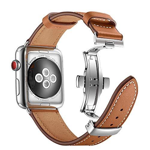 ANYE Compatibile per Cinturino Apple Watch Series 6 44mm,Cinturino in Vera Pelle iWatch SE 44mm Cinturino Orologio Apple Watch 42mm Cinturino di Ricambio Cinturino Bracciale iWatch Series 6/5/4/3/2/1