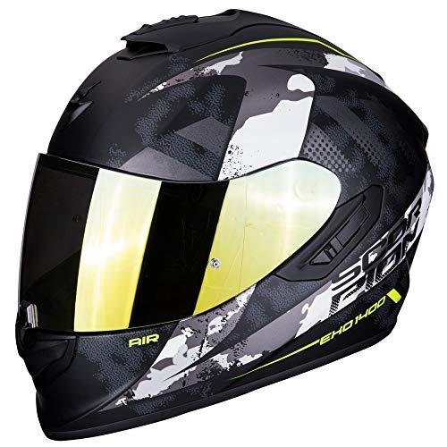 Scorpion - Casco integral EXO-1400 sylex negro mate plata de fibra de vidrio para scooter moto con visera interior SpeedView solar retráctil, protección exterior TCT (M)