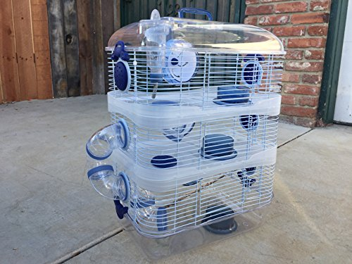 New 3 Solid Floor Levels Habitat Hamster Rodent Gerbil Mouse Mice Cage Clear Transparent (Blue)