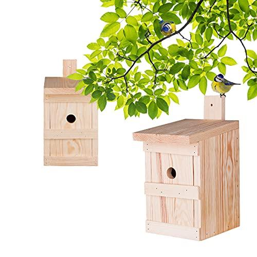 2x Nistkasten für Meisen & Kleinvögel - Vogelhaus aus Massivholz - 27x17x17cm - Brutkasten handgemacht in Europa - Meisenkasten wetterfest mit Einflugloch 28mm