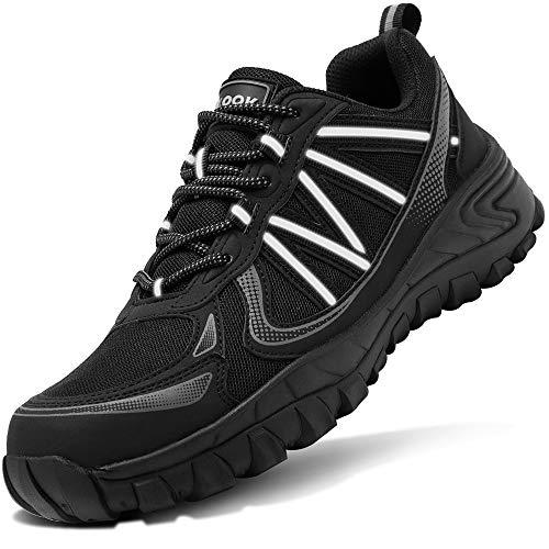 Zapatos de Seguridad para Hombre con Puntera de Acero Zapatillas de Seguridad Trabajo, Calzado de Industrial y Deportiva(D Negro,41 EU)
