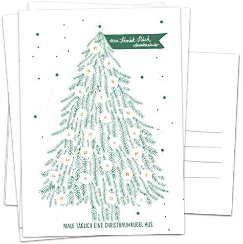 Adventskalender Karten Set - 5 Postkarten im geschmackvollen Design mit Baumkugeln zum Ausmalen, Mini Adventskalender als Weihnachtskarten Alternative für Advent & Weihnachtsgrüße, Grün Weiß