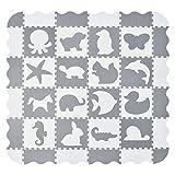 Juskys Kinder Puzzlematte Timon 36 Teile mit 16 Tieren in grau weiß - rutschfest & abwischbar Puzzle ab 10 Monate - Eva Schaumstoff - Spielmatte