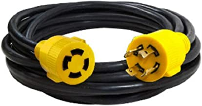 MaxWorks 80841 25 Ft. Heavy Duty 4-Prong Twist Lock 125V/250V 30 Amp L14-30P (Male) L14-30R (Female) Generator Extension Cord, Black and yellow