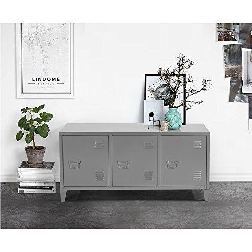 meuble bas enfilade armoire commode cabinet rangement métal acier portes poignée étagères compartiments peint gris foncé clair anthracite