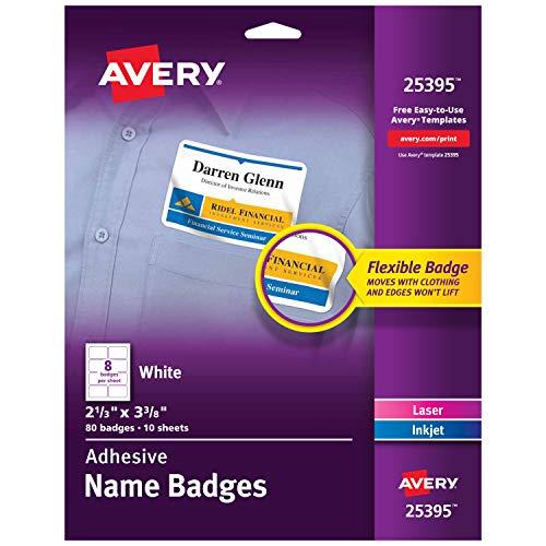 Avery Premium Personalized Name Tags, Print or Write,  2-1/3' x 3-3/8', 80 Adhesive Tags,(25395), White