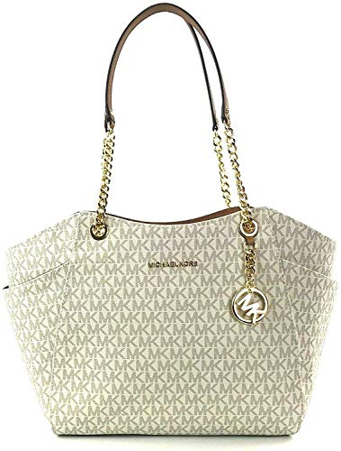"""PVC with gold tone hardware. Approximate measurement: 11""""-16""""L x 10""""H x 4.5"""" D 10"""" double shoulder strap drop. Interior: 1 zippered pocket and 4 slip pockets. Exterior: side pockets"""