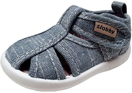 gibra® Freizeitschuhe Sneaker Sandalen aus Stoff für Babys, Kleinkinder, Kinder, Art. 0747, mit Klettverschluss, jeansgrau, Gr. 21