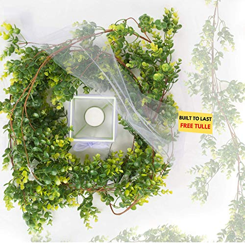 6 Feet Premium Artificial Faux Eucalyptus Garland Greenery Vine Decor Leaf Wedding Table Runner Arch with Free Tulle. Perfect for Table Setting Decor Weddings and Special Events