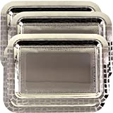 Maro Megastore (Pack of 4) 16.9 Inch x 12.2 Inch Oblong Chrome Plated Serving Tray Stylish Brick Floral Square Engraved Edge Decorative Party Birthday Wedding Dessert Buffet Wine Platter Plate CC-799