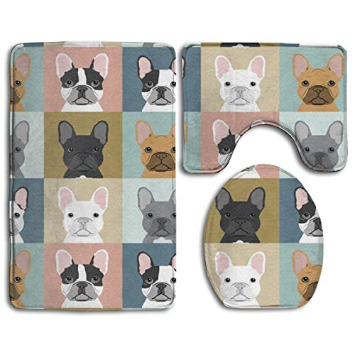 KOPTZA French Bulldog Pattern 3 Piece Bath Mat Set,Contour Bathroom Rug Set,Absorbent Flannel Bath Rugs, Non-Slip,Thick,Microfiber Bathrug,Shower Toilet Bathmats Carpet