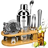 19-Piece Cocktail Making Set, PECHAM Cocktail Shaker Set 750ml Stainless Steel Bartender Kit Bar Tools Set with Stylish Bamboo Stand Premium Bar tendering Tool for Home/Bars/ Outdoor Parties