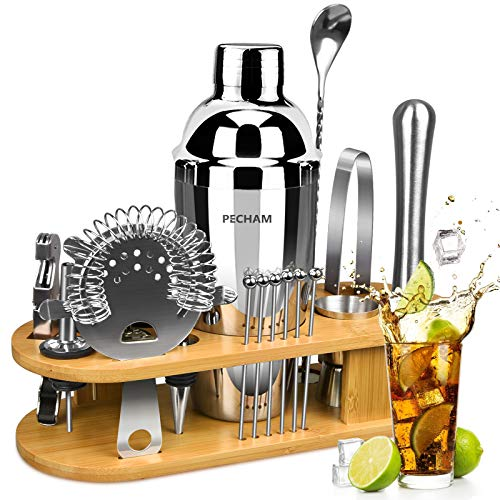 19-Piece Cocktail Making Set, PECHAM Cocktail Shaker Set 750ml Stainless Steel Bartender Kit Bar Tools Set with Stylish Bamboo Stand Premium Bar tendering Tool for Home Bars  Outdoor Parties