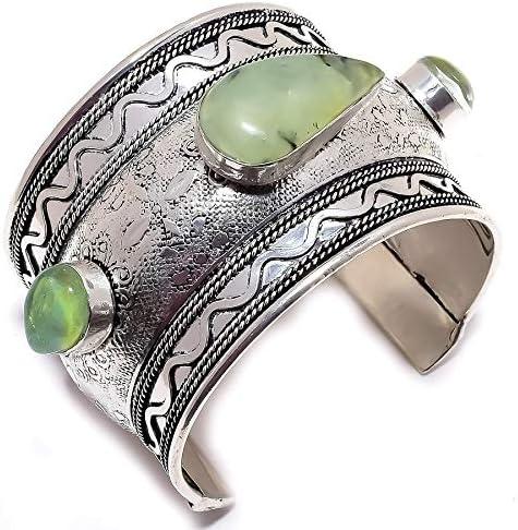YUVI Moss Prehnite, Triplet Opal .925 Silver Jewelry Cuff Bracel