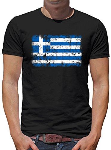 TShirt-People Griechenland Vintage Flagge Fahne T-Shirt Herren L Schwarz