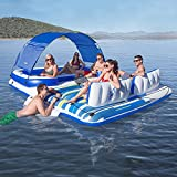 LANGWEI Inflatable Rafts for Adults 6 People, Floating Island Raft with Sun Shade   Swimming Pool Party Toys with Canopy, Cupholders, & Cooler Bag