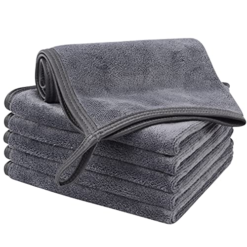 KinHwa Reusable Face Cloths Soft Makeup Remover Cloth Microfiber Washcloths Facial Cleaning for Women 12inch x 12inch 6 Pack Dark-gray