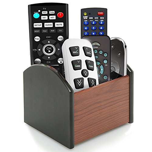 Coideal Rotating Remote Control Holder Caddy, 4 Compartment Revolving Wooden Desktop Office Supplies Storage Organizer / Spinning Pen Pencil Stationery Holder Container Box for Desk Home