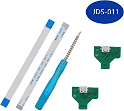 XtremeAmazing Pack of 2 replacements JDS-011 Micro USB Adaptor Charging Charger Port Socket Board Connector Module with Flex Ribbon Cable + Screwdriver for PS4 PlayStation DualShock 4 DS4 Controller
