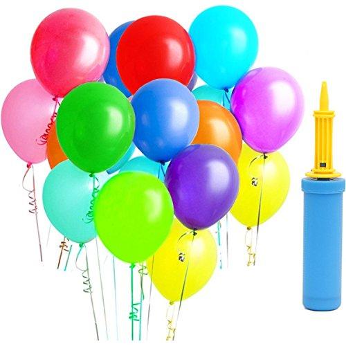 ApoGo 100 Luftballon und 1 Ballonpumpe, Ballon und Luftpumpe,Partyballon, Farbige Ballons, Bunte Ballons für Geburtstagsfeiern, Party, Hochzeitsfeiern-12 inch Latex Ballone