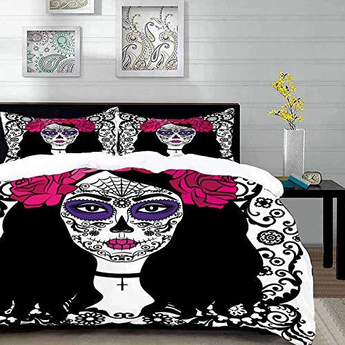 Yilan Bedding Juego de Funda de Edredón,Microfibra -Decoración de Sugar Skull, Chica con Maquillaje de Sugar Skull Arte - Funda de Nórdico y Fundas de Almohada - (Cama 150 x 200cm + Almohada 63X63cm)