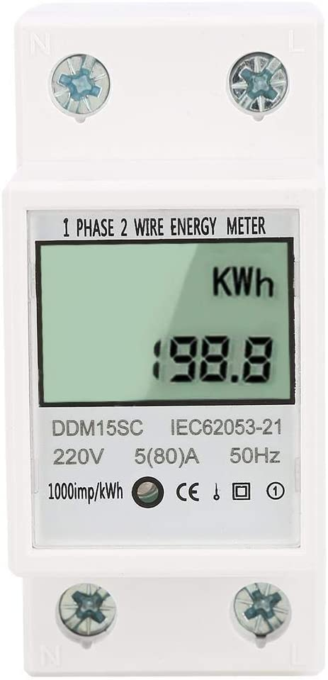 Broco Medidor de energía, Digital Display LCD monofásicos carril DIN energía electrónica Medidor de KWh 5-80A DDM15SC