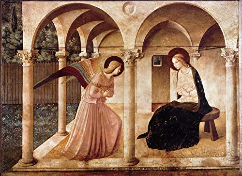 """Fra Angelico The Annunciation 1450 Chiesi di San Marco - Florence 30"""" x 22"""" Fine Art Giclee Canvas Print (Unframed) Reproduction"""
