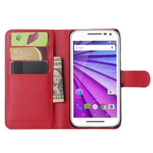 Ycloud Tasche für Motorola Moto G 3 Generation Hülle, PU Ledertasche Flip Cover Wallet Hülle Handyhülle mit Stand Function Credit Card Slots Bookstyle Purse Design rote
