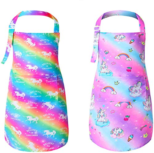 PASHOP 2 Pack Kids Apron Rainbow Unicorn Aprons With Pockets for Children Girls Boys Toddler Apron for Painting Cooking Baking