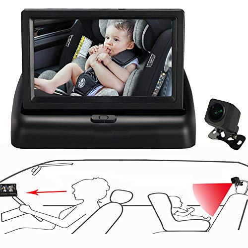 Itomoro Baby Car Mirror, View Infant in Rear Facing Seat with Wide Crystal Clear View,Camera aimed at baby-Easily to Observe The Baby's Every Move